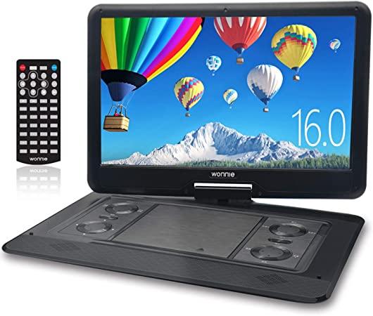 ポータブル DVDプレーヤー 17.9型 270度回転 16インチ WONNIE 高画質液晶画面 リージョンフリー 5時間再生 3電源対応 SD/MS/MMC/USBに対応 AV出入力 車載携帯式DVD 説明書付き ブラック