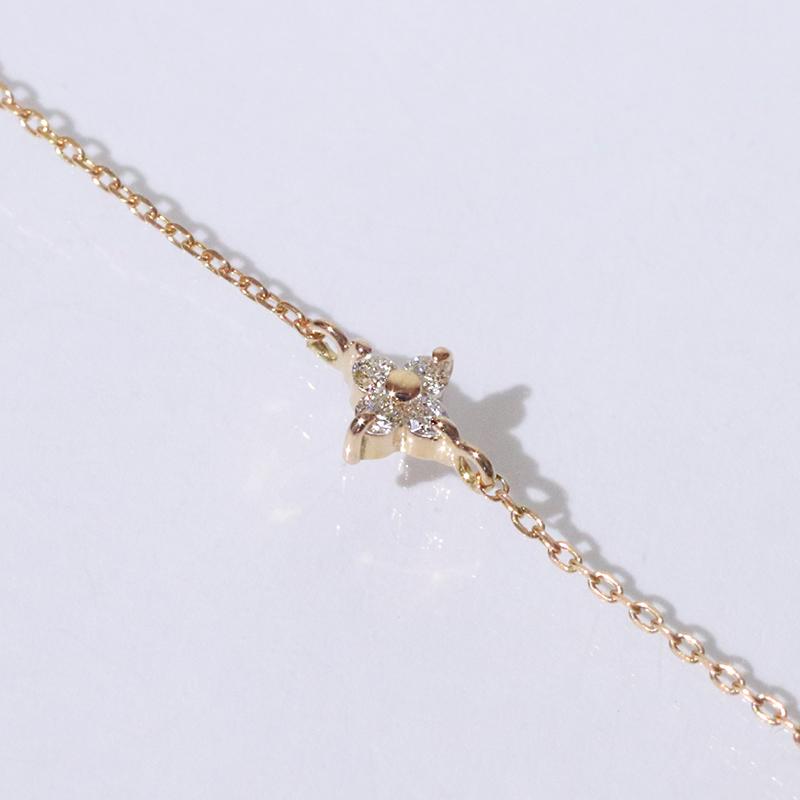K18PG・ピンクゴールド・花・フラワー・0.04ct・ダイヤモンド・18金・ジュエリー・アクセサリー・レディース・ブレスレット・ブレス・小豆・チェーン・ゴールド・送料無料・品質保証書・プレゼント