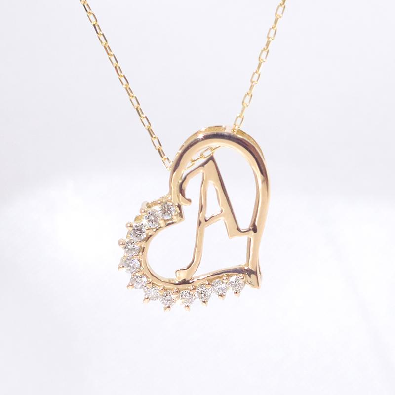 【あす楽対応】A イニシャル ペンダント ダイヤモンド ネックレス  K18 18金イエローゴールド ファッション ジュエリー アクセサリー レディース 「4P108AYG」【送料無料】 *