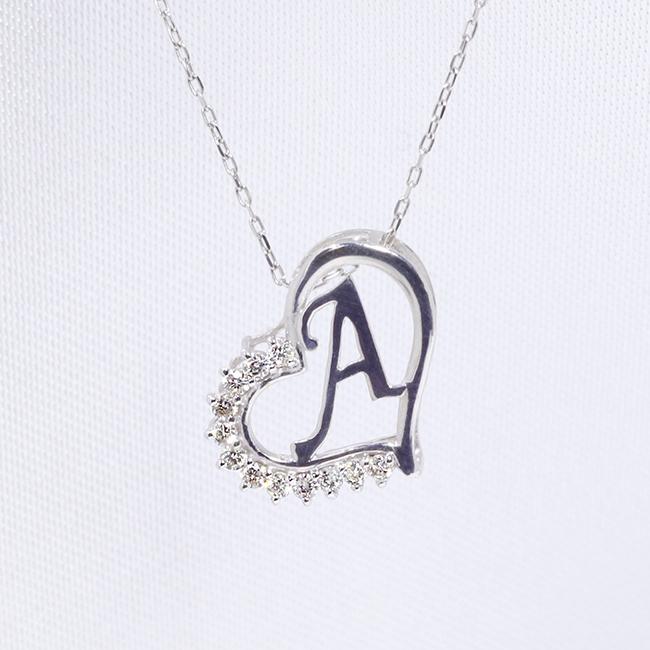 【あす楽対応】A イニシャル ペンダント ダイヤモンド ネックレス K18WG 18金ホワイトゴールド ファッション レディース アクセサリー ジュエリー 「4P108AWG」【送料無料】 *