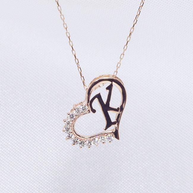 【あす楽対応】K イニシャル ペンダント ダイヤモンド ネックレス K18PG 18金ピンクゴールド ファッション ジュエリー レディース アクセサリー 「4P108KPG」【送料無料】 *