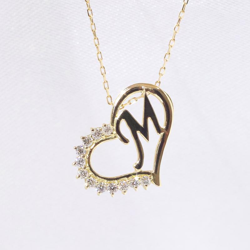 【あす楽対応】M イニシャル ペンダント ダイヤモンド ネックレス  K18 18金イエローゴールド ファッション ジュエリー アクセサリー レディース 「4P108MYG」【送料無料】 *