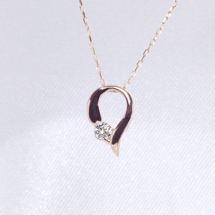 「あす楽対応」 1粒 ダイヤモンド ファッション ジュエリー アクセサリー レディース 4月誕生石 ペンダント ネックレス K18PG 18金ピンクゴールド「4P0120pg」【送料無料】 *
