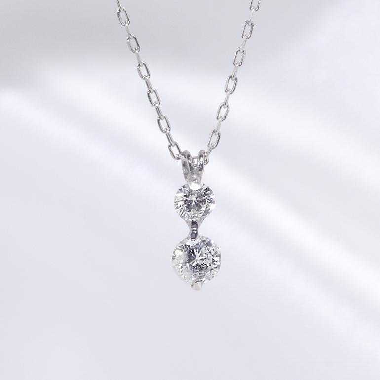 2石 2粒 ダイヤモンド ペンダント ネックレス K18WG 18金ホワイトゴールド「4P0166-k10」【送料無料】 *