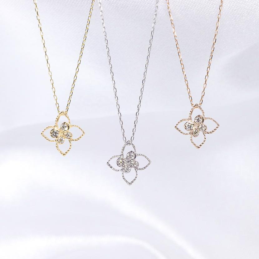 「あす楽対応」ファッション・ジュエリー・アクセサリー・レディース・ネックレス・ペンダント・ゴールド・ホワイトゴールド・イエローゴールド・ダイヤモンド・花・フラワー・フラワーモチーフ・ダイヤ・プチ・4月誕生石・送料無料・品質保証書・プレゼント *