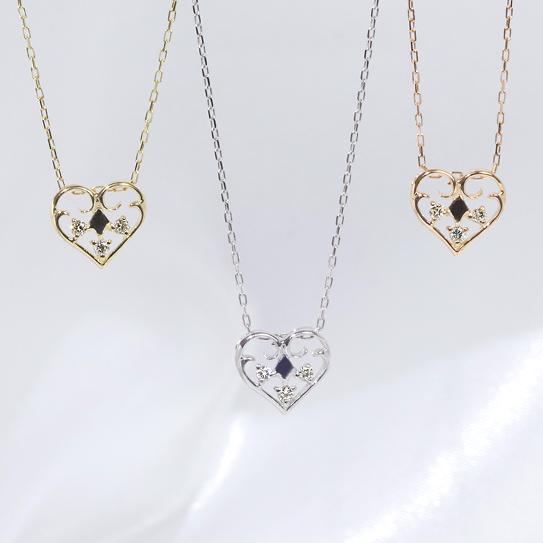 【★お手頃な値段★】K18YG/WG/PG ダイヤモンド ファッション ジュエリー アクセサリー レディース 4月誕生石 ハート ペンダント ネックレス K18「4P0642-k18」【送料無料】 *