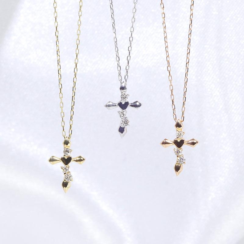 【★お手頃な値段★】K18YG/WG/PG ダイヤモンド ファッション ジュエリー アクセサリー レディース 4月誕生石 クロス 十字架 ペンダント ネックレス K18 18金 ゴールド 「4P0652」【送料無料】 *