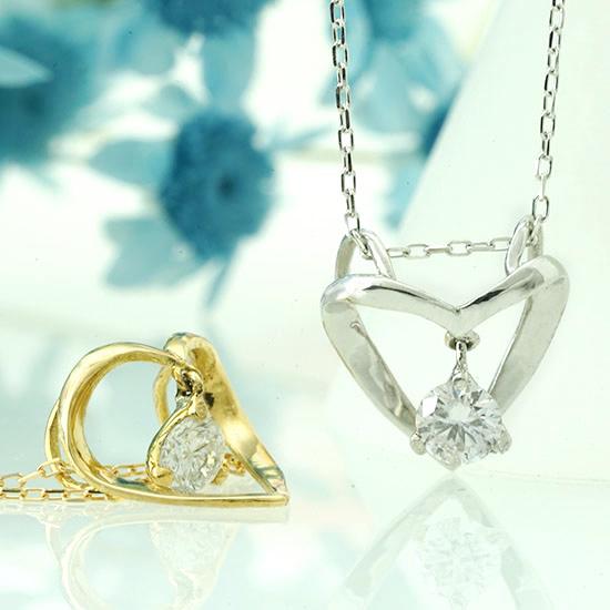 【立体的なハートのフォルムが印象的♪】一粒ダイヤ ファッション・ジュエリー・アクセサリー・ネックレス・ペンダント・ゴールド・ダイヤモンド・ハート・ハートモチーフ・オープンハート・プチ・一粒・4月誕生石・送料無料・品質保証書・プレゼント *