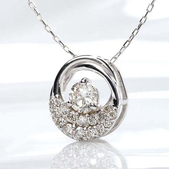 ファッション・ジュエリー・アクセサリー・レディース・ネックレス・ペンダント・ゴールド・ホワイトゴールド・丸型・イエローゴールド・ダイヤモンド・ダイヤ・4月誕生石・送料無料・品質保証書・プレゼント *