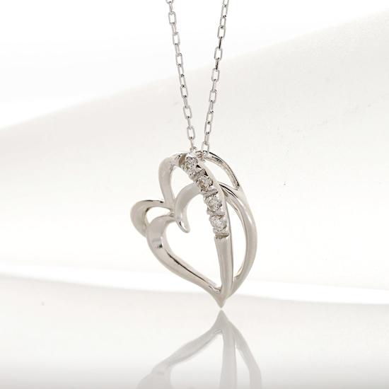ハートモチーフ ダイヤペンダント 4連ダイヤ 4連 ネックレス 0.07ct K10 ホワイトゴールド イエローゴールド【送料無料】