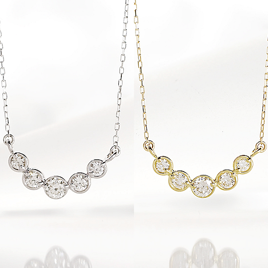 ダイヤの品質は保証します 美しい5連ダイヤペンダント ネックレス 0.18ct K10 ホワイトゴールド イエローゴールド【送料無料】