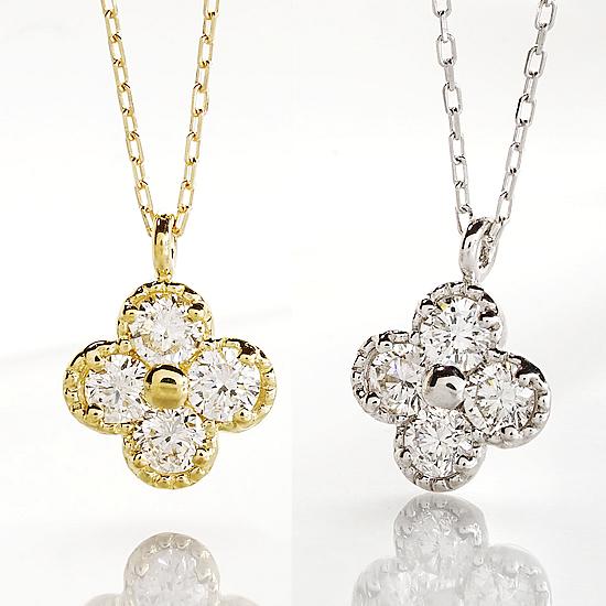 花モチーフにミル打ちでゴージャスな雰囲気に 花モチーフダイヤペンダント ネックレス 0.20ct K10 ホワイトゴールド イエローゴールド ダイヤ【送料無料】