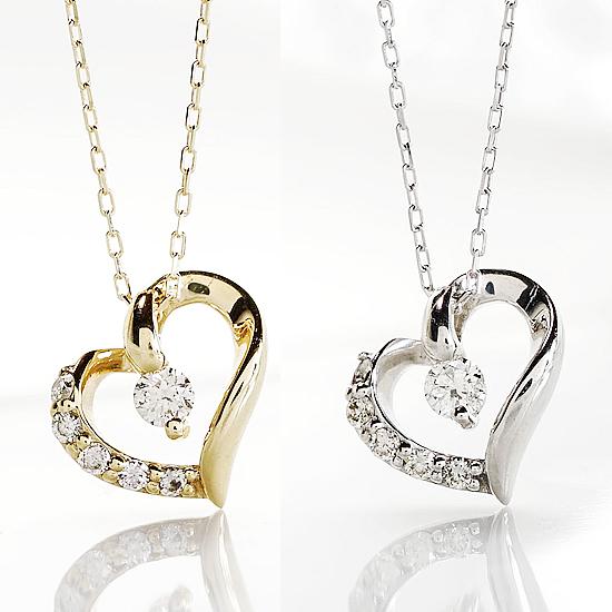 メリハリのあるライン ハートモチーフ 6石ダイヤペンダント ネックレス 0.10ct K10 ホワイトゴールド イエローゴールド【送料無料】