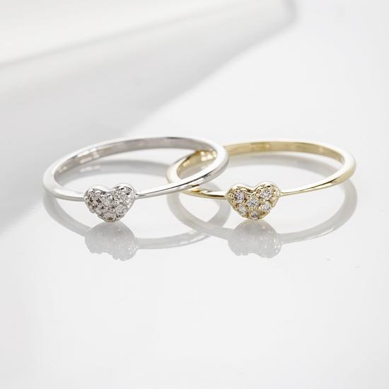 ワンポイントのハートがキュート ダイヤリング 指輪 0.05ct K10 ホワイトゴールド イエローゴールド【送料無料】