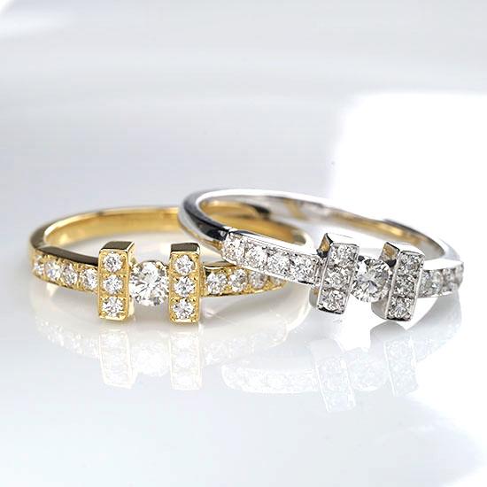 ファッション・ジュエリー・アクセサリー・レディース・指輪・リング・K18・ホワイトゴールド・イエローゴールド・ダイヤモンド・ダイアモンド・ダイヤ・ダイア・H型・H・送料無料・品質保証書・プレゼント・4月誕生石・ダイヤモンドリング