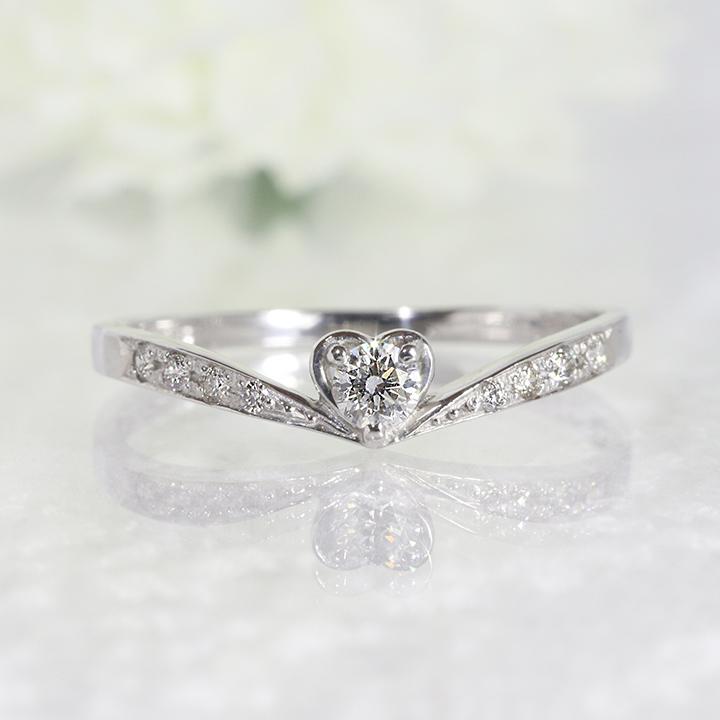 ダイヤモンド ティアラ リング ジュエリー アクセサリー ファッションハート リング ダイヤモンド K18WG 指輪 2号~32号 K18WG「4R0064W」【送料無料】 *
