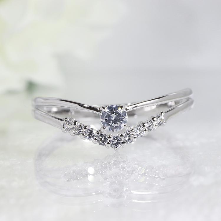 【送料無料】 K18WG 10石 0.17ct ファッション ジュエリー アクセサリー レディース 4月誕生石 ダイヤモンドリング アニバーサリーリングに 「4R0106W」 *