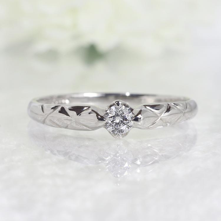 ダイヤモンド リング ジュエリー アクセサリー ファッション【送料無料】K18WG 1粒 0.1ct ダイヤモンド リング 「4R0250W」 *