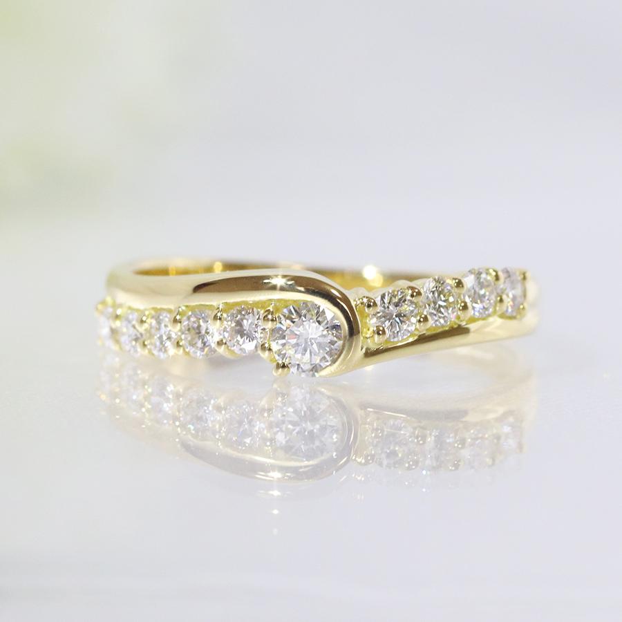K18YG・ダイヤモンド・ダイアモンド・0.10ct・0.25ct・リング・ファッション・ジュエリー・アクセサリー・レディース・指輪・ring・18金・YG・イエローゴールド・送料無料・品質保証書・プレゼント・小指・重ね着け