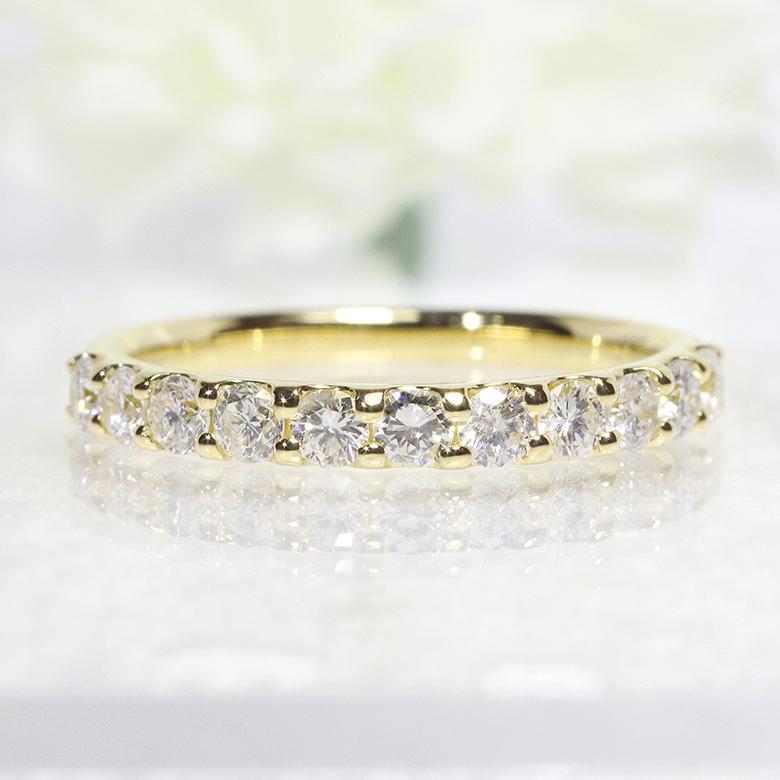 エタニティ 天然 ダイヤモンド・ダイアモンド・ハーフエタニティ・ファッション・ジュエリー・アクセサリー・レディース・指輪・リング・18金・K18YG・イエローゴールド・送料無料・品質保証書・プレゼント・4月誕生石・ピンキー・0.7ct・重ね着け