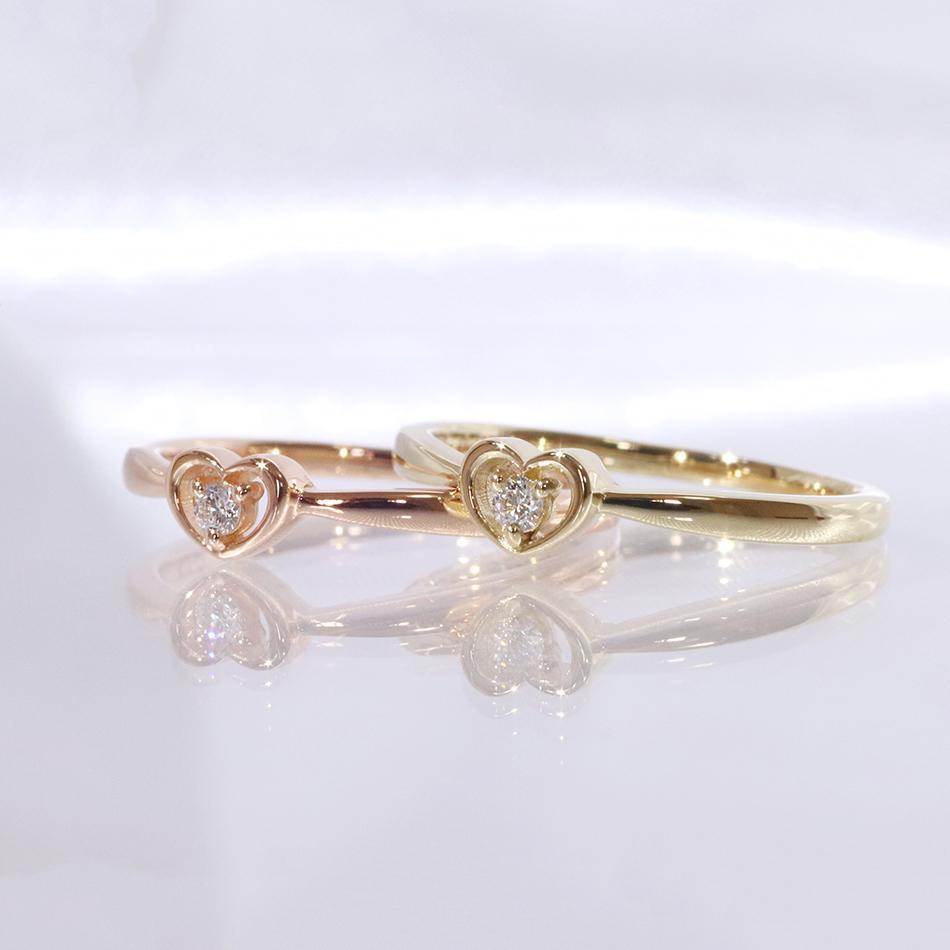K18YG WG PG ハートモチーフリング ハート ダイヤモンド 0.02ct リング ホワイトゴールド ピンクゴールド 定番スタイル イエローゴールド heart 10金 指輪 毎週更新 送料無料 ring