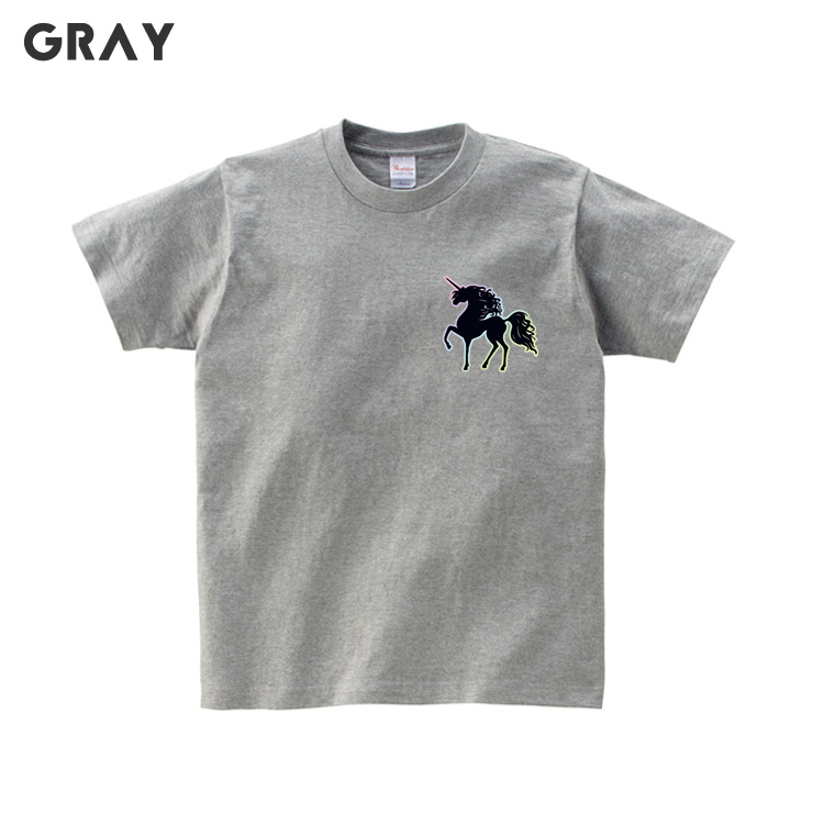 Men And Women Cotton Round Neck Short-sleeved T-shirt Unicorn Character Print L