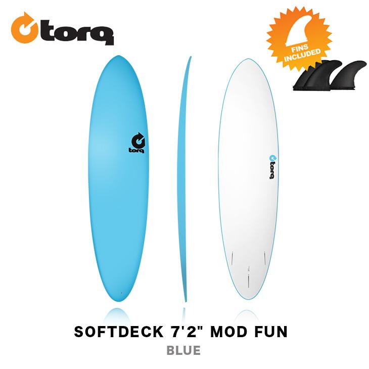 送料無料 お買得 北海道 沖縄 離島は除く 初心者におすすめ 軽くて丈夫なサーフボード 3FIN FUTURES FIN FUNBOARD SURFIN TORQ SURFBOARDS ファン MOD サーフボード ソフトデッキ 7'2