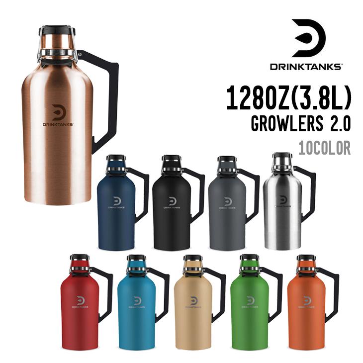送料無料 北海道 沖縄 離島 一部地域は除く 保温 保冷 ダブルウォール構造 炭酸飲料やビールにも対応 DRINK 記念日 ドリンクタンクス TANKS 2.0 ステンレスボトル 3.8L 128OZ 特価 GROWLERS 真空断熱 水筒 グラウラー
