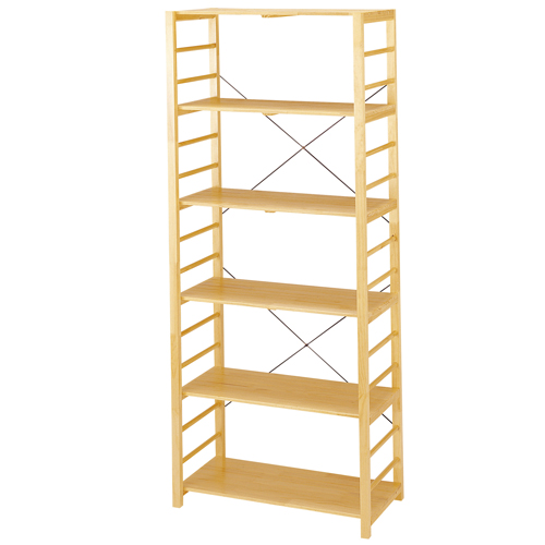 オープンラック 木製 6段 ナチュラル 作業棚 ディスプレイラック 本棚 書棚 作業棚 オシャレ