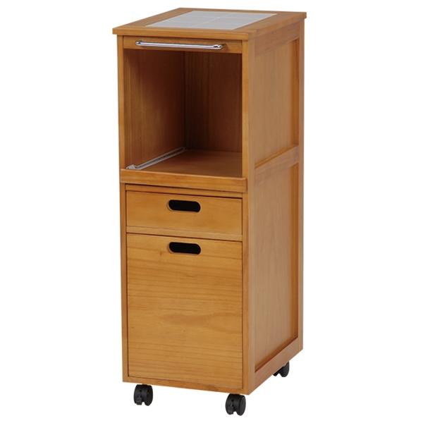 キッチンワゴン キッチンカウンター キッチンラック 木製 ウッドボックス ストッカー スライド棚 引き出し付き キャスター付き 収納 幅31×高さ85cm(ナチュラル)[MW-6709NA]