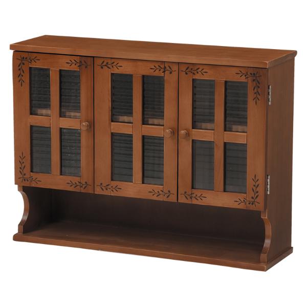 調味料ラック 食器棚 完成品 カントリー調 カウンター上収納 ラック ミニ食器棚 3扉 木製 ライトブラウン[MUD-6029LBR]