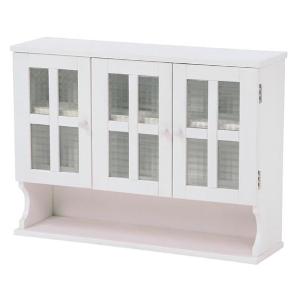 調味料ラック 食器棚 完成品 カントリー調 カウンター上収納 ラック ミニ食器棚 3扉 木製 ホワイト[MUD-6029WH]