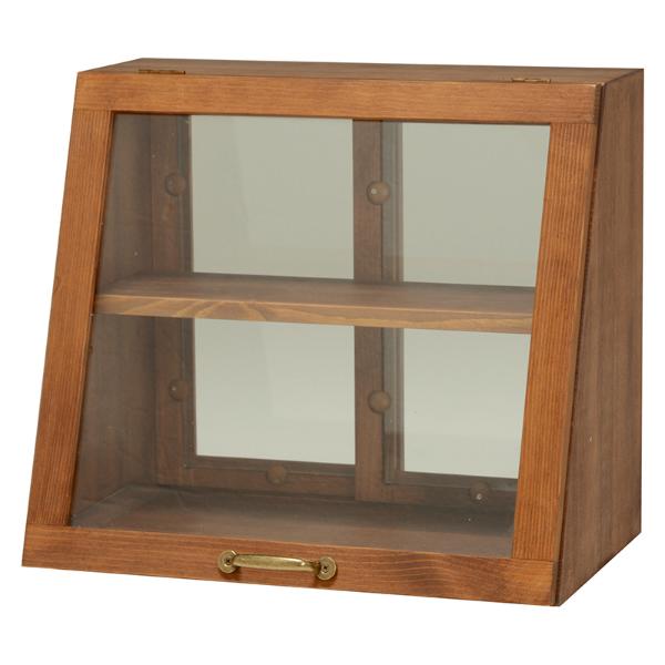 カウンター上ガラスケース 1扉 食器棚 カウンター上収納 ディスプレイケース 木製 2段 高さ調整 ダークブラウン[MUD-6066DBR]