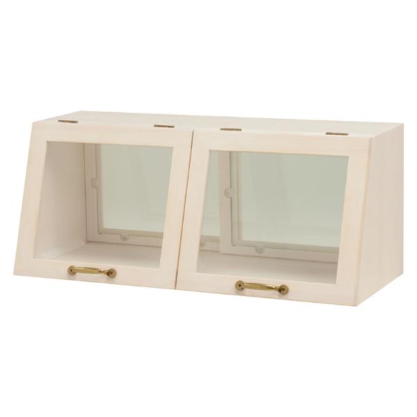 カウンター上ガラスケース 2扉 食器棚 見せる収納 カウンター上収納 ディスプレイケース 木製 ウォッシュ ホワイト[MUD-6067WS]