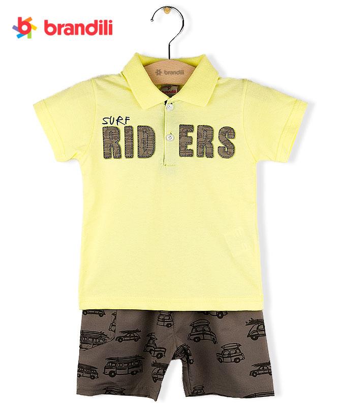 BRANDILI 与え 男の子襟付きTシャツ ショートパンツセット イエロー×ブラウン 車プリント 高品質 上下セット