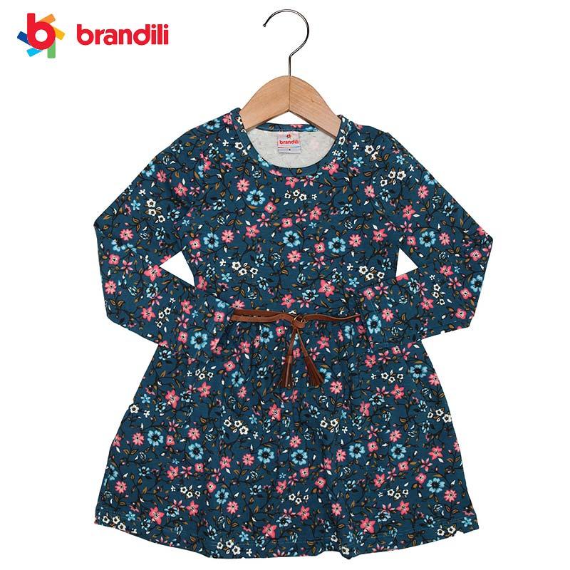 SALENEW大人気 BRANDILI メーカー再生品 女の子服 ネイビー フリンジベルト付き小花柄長袖ワンピース