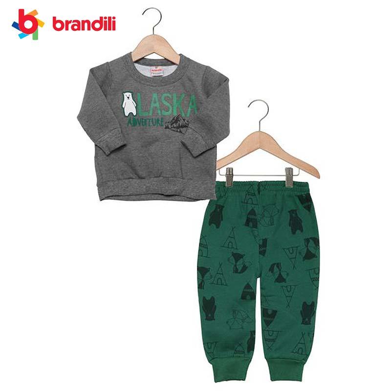 BRANDILI 男の子ベビー服 シロクマデザイン裏ボア グレー×グリーン 超特価 アウトレットセール 特集 スウェット上下セット