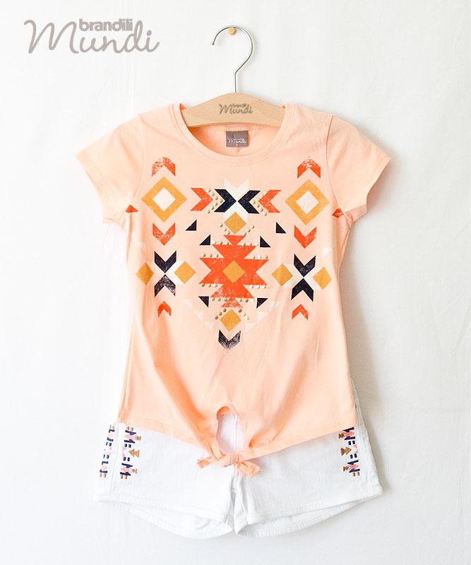 BRANDILI 安い 激安 プチプラ 高品質 MUNDI 女の子Tシャツ ショートデニムセット オープニング 大放出セール おしゃれ着 ネイティブ柄 コーラルオレンジ×ホワイト