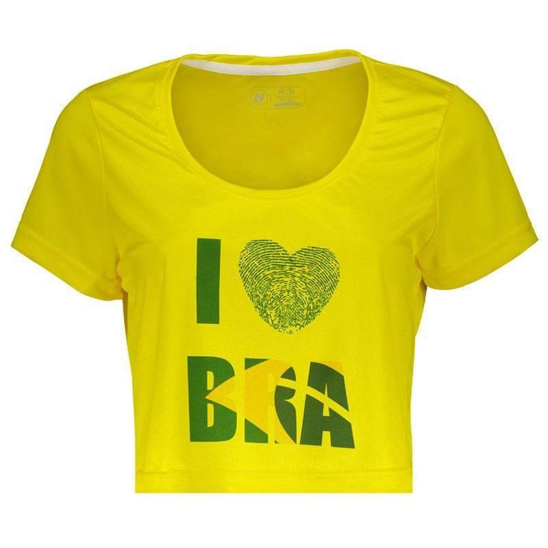 レディースブラジルTシャツ I LOVE BRA 訳ありセール 格安 イエロー ざっくりクロップド丈 超目玉