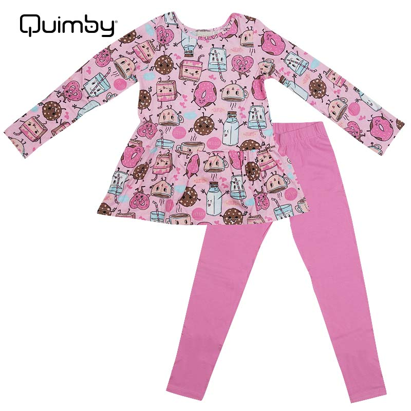 OUTLET SALE 新作入荷!! QUIMBY 子供服パジャマ スイーツプリント上下セット ピンク