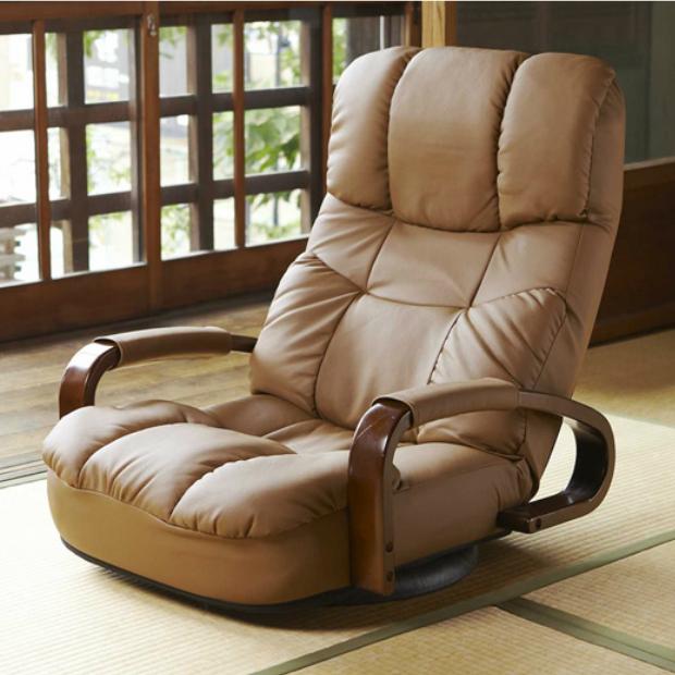【送料無料】ヘッドサポート 座椅子 座いす 座イス無段階 リクライニング チェア回転いす 360度 回転 座椅子 安心の日本製 回転座椅子 国産ブラウン ダークブラウン 【新生活 応援】