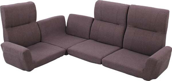 送料無料 ファンクション ソファ LSS-11BR/135790 ローソファ フロアソファ ソファーベッド 座椅子 リクライニング ファブリック