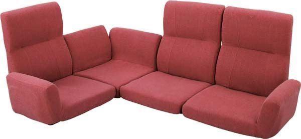 送料無料 ファンクション ソファ LSS-11RD/135783 ローソファ フロアソファ ソファーベッド 座椅子 リクライニング ファブリック