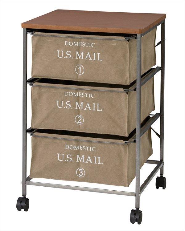 送料無料 USメールチェスト3段 MIP-373BE ランドリーワゴン タンス サニタリー収納 収納チェスト 衣類収納 ランドリーチェスト