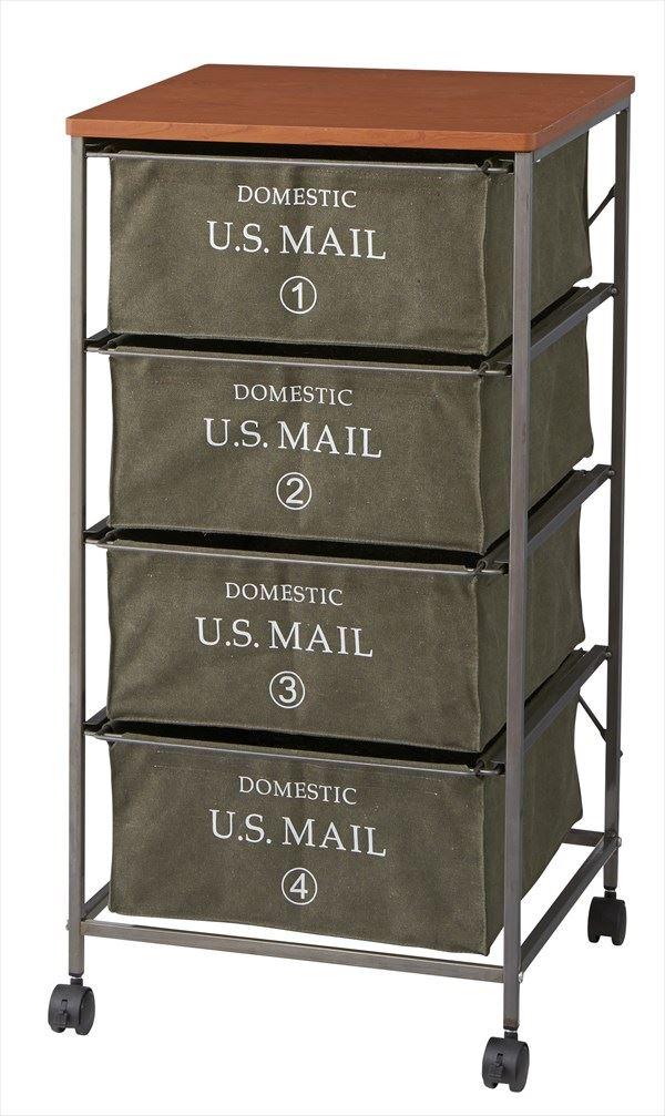 ※送料無料 USメールチェスト4段 US Mail ※グリーン MIP-374GR ランドリーワゴン タンス サニタリー収納 収納チェスト 衣類収納 ランドリーチェスト