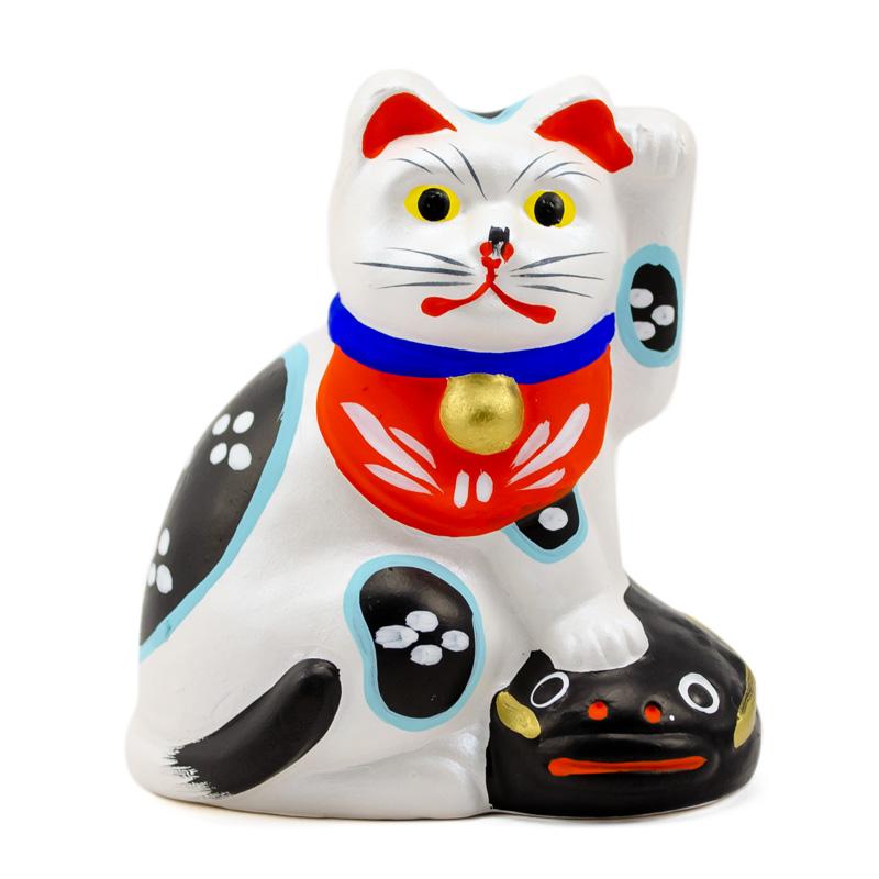 猫好きさんに贈りたいギフト 地震を抑えて福を招く 愛らしい白猫 堤人形 つつみのおひなっこや - 鯰 約7cm 伝統的工芸品 クラフト ふみ白猫 和のインテリア 新作送料無料 なまず 40%OFFの激安セール 土人形