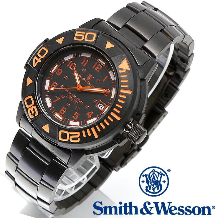 [正規品] スミス&ウェッソン Smith & Wesson スイス トリチウム ミリタリー腕時計 SWISS TRITIUM DIVER WATCH BLACK/ORANGE SWW-900-OR [あす楽] [送料無料]