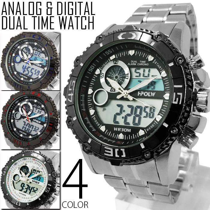 ed626683b8 アナデジ 多機能 腕時計 メンズ 送料無料 全4色 アナログ&デジタル ビッグフェイス デュアルタイム 腕時計 メンズ 腕時計  1年保証&BOX付き デジタル腕時計 ...