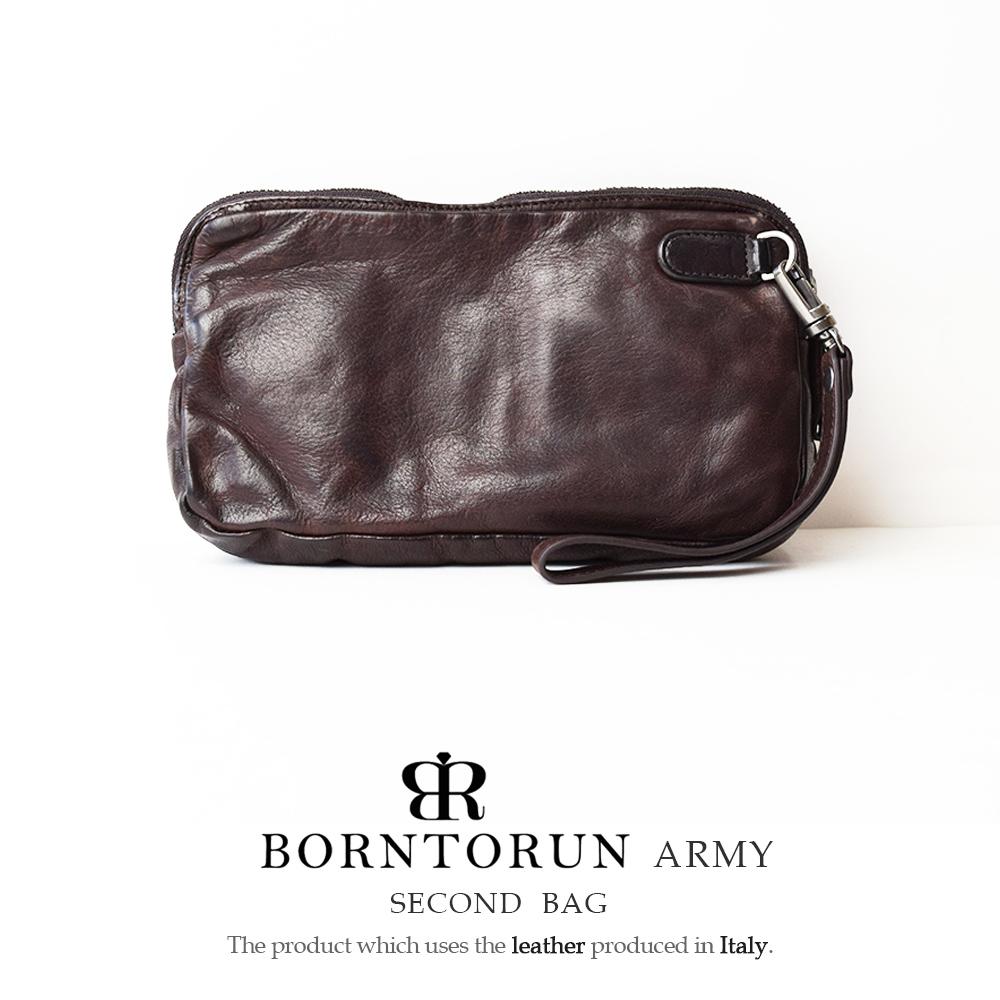 本革 セカンドバッグ メンズ ボルトラン アーミー BORNTORUN ARMY イタリアンレザー セカンドバッグ ダークブラウン W0420 AOR-A