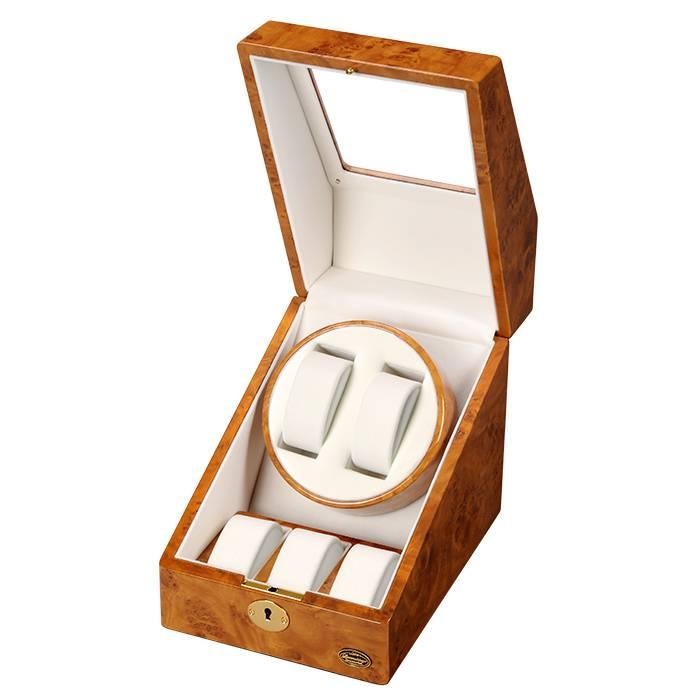 送料無料 木製 2連 ワインディングマシーン 鍵付き ACアダプター 時計ホルダー 説明書 保証書付き